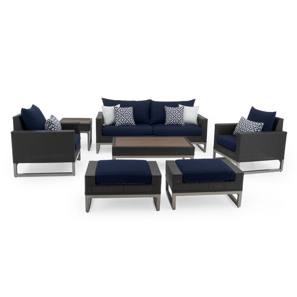 RST Brands Milo Espresso 7-Piece Wicker Patio Deep Seating Conversation Set with Sunbrella Navy Blue Cushions