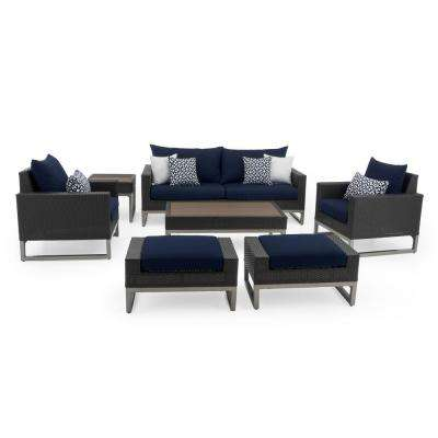 Milo Espresso 7-Piece Wicker Patio Deep Seating Conversation Set with Sunbrella Navy Blue Cushions