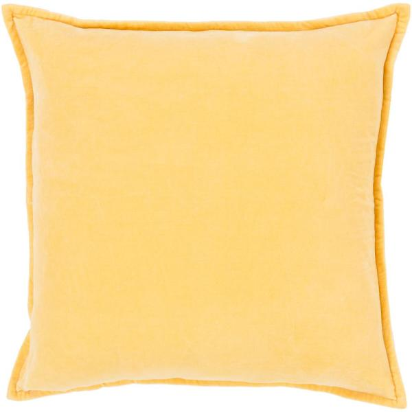 Velizh Bright Yellow Solid Polyester 22 in. x 22 in. Throw Pillow