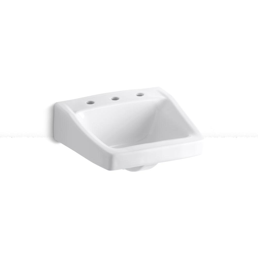 KOHLER Chesapeake Wall-Mounted Vitreous China Bathroom Sink in White with Overflow Drain
