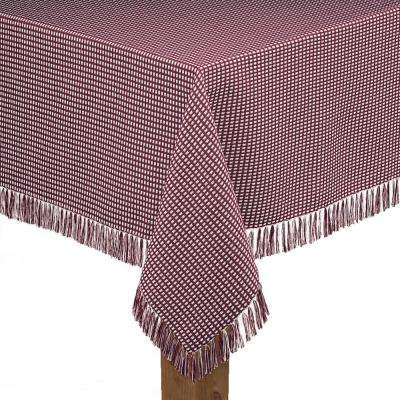 Homespun Fringed 60 in. x 120 in. Wine 100% Cotton Tablecloth