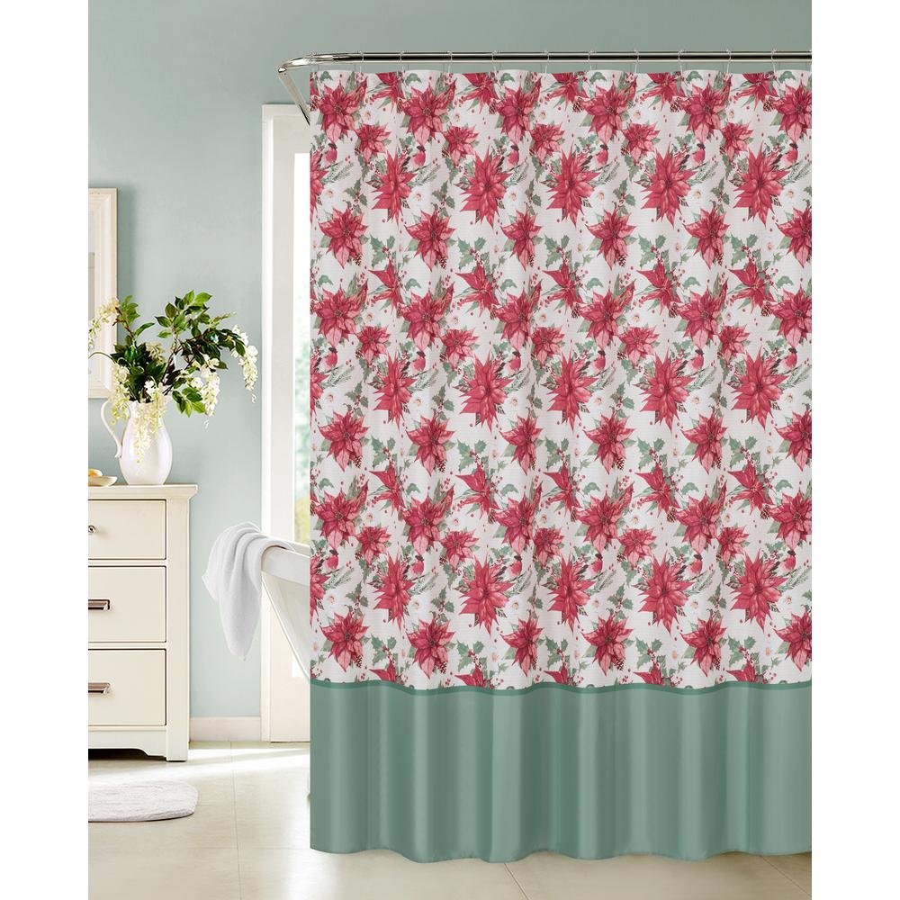 Joy Noel 13 Piece Holiday Poinsettia Lyrics Shower Curtain And Hooks Set
