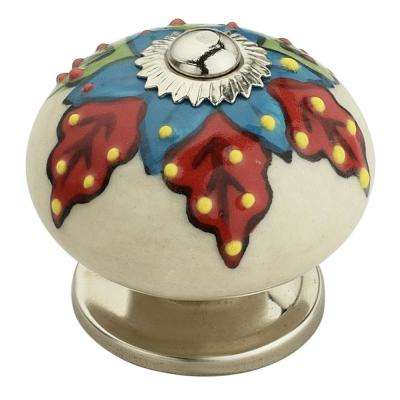 Decent 1-3/5 in. (41mm) White and Multicolor Cabinet Knob