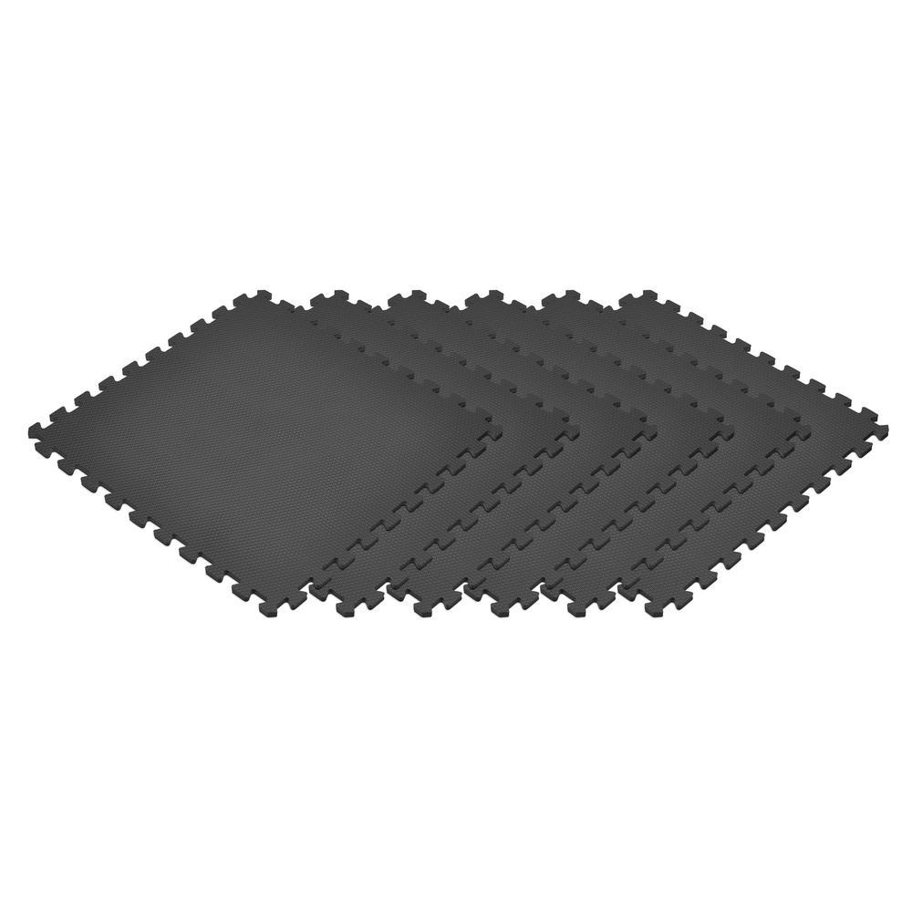 Black 24 in. x 24 in. EVA Foam Non-Toxic Solid Color Interlocking Tiles (120 sq. ft. - 30 tiles)