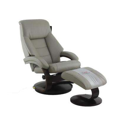 Montreal Putty Top Grain Leather Recliner with Ottoman