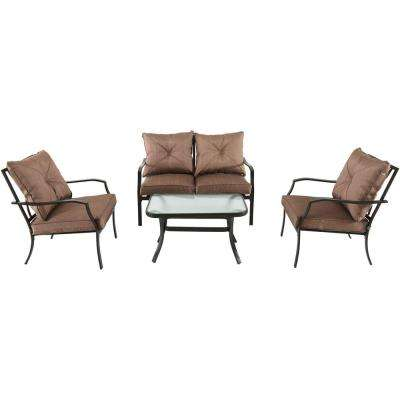 Crawford 4-Piece Steel Patio Seating Set with Tan Cushions