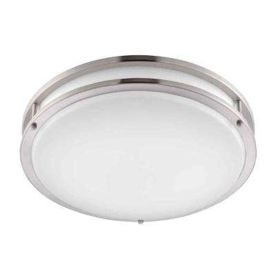 16 in. Brushed Nickel/White Low-Profile LED Ceiling Light