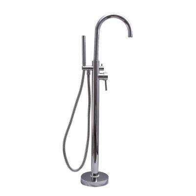 2-Handle Thermostatic Freestanding Claw Foot Tub Faucet with Hand Shower in Chrome