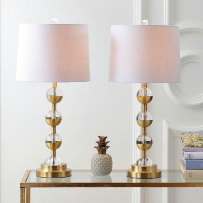 Avery 27.5 in. Clear/Brass Gold Crystal Table Lamp (Set of 2)
