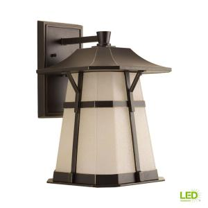 Derby Collection 1-Light 15.5 in. Outdoor Antique Bronze LED Wall Lantern Sconce