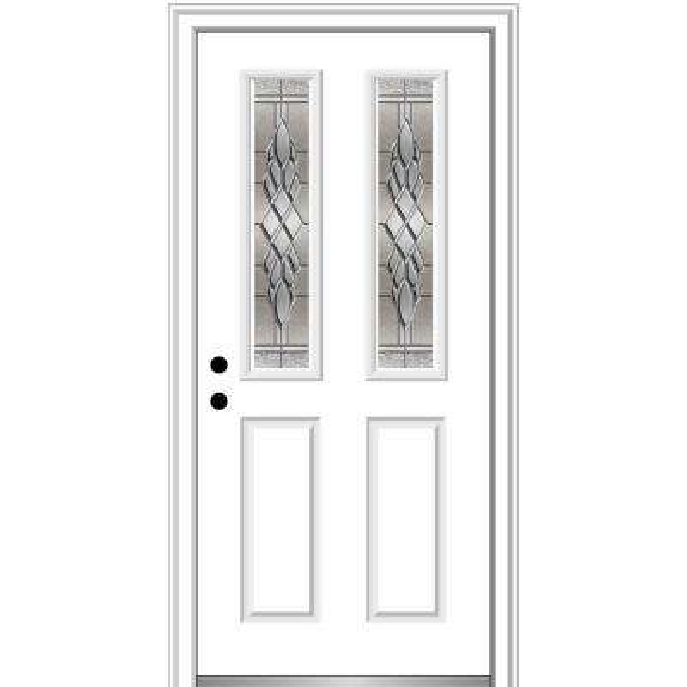 32 in. x 80 in. Grace Right-Hand Inswing 2-Lite Decorative 2-Panel Primed Steel Prehung Front Door, 4-9/16 in. Frame