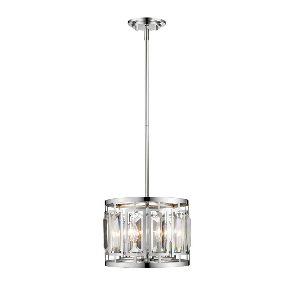 Filament Design Monarch 3-Light Chrome Pendant with Chrome Steel and Crystal Glass Shade