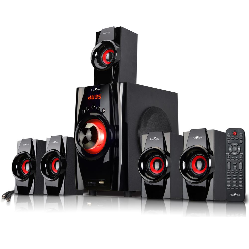 5.1-Channel Surround Sound Bluetooth Speaker System in Black and Red