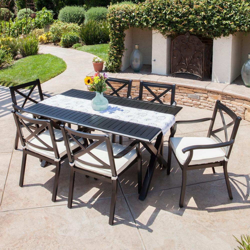 Black 7-Piece Aluminum Rectangular Outdoor Dining Set with Ivory Cushion