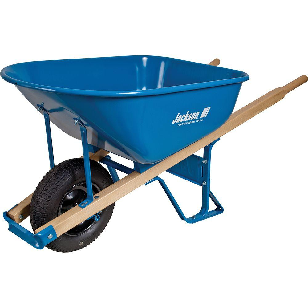 Jackson 6 cu. ft. Heavy Gauge Seamless Steel Wheelbarrow with Hardwood Handles