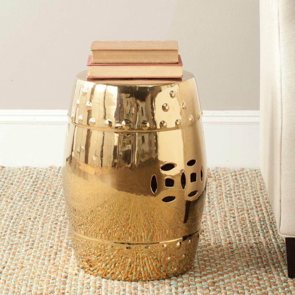 Modern Ming Gold Ceramic Patio Stool