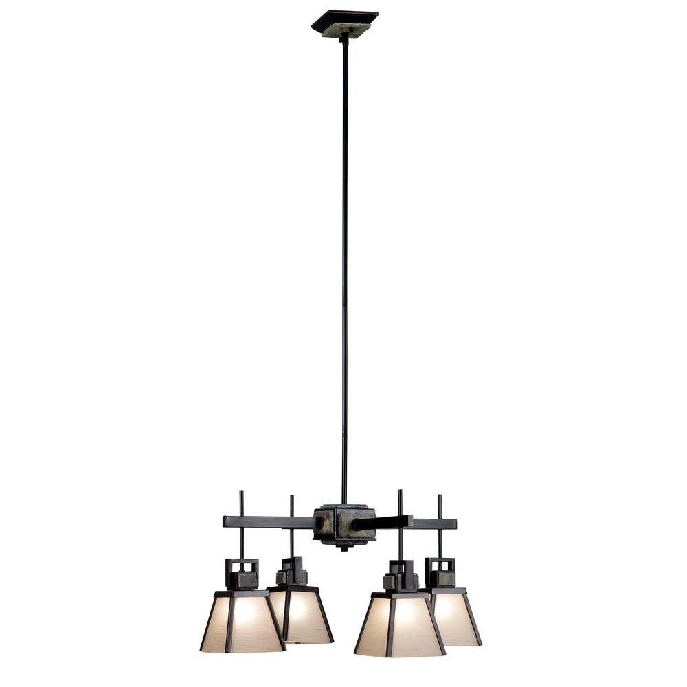 Kenroy home clean slate 4 light oil rubbed bronze chandelier with kenroy home clean slate 4 light oil rubbed bronze chandelier with natural slate shade arubaitofo Gallery