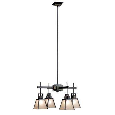 Clean Slate 4-Light Oil Rubbed Bronze Chandelier with Natural Slate Shade