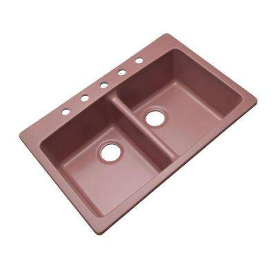 Waterbrook Dual Mount Composite Granite 33 in. 5-Hole Double Bowl Kitchen Sink in Coral Rose