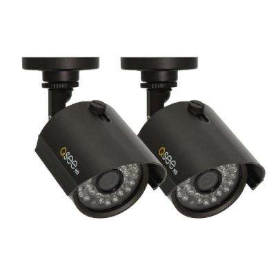 Wired 720p Indoor or Outdoor HD Bullet Standard Surveillance Camera with 100 ft. Night Vision (2-Pack)