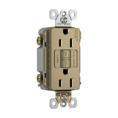 15 Amp 125-Volt Self-Test Tamper-Resistant GFCI Receptacle - Antique Brass