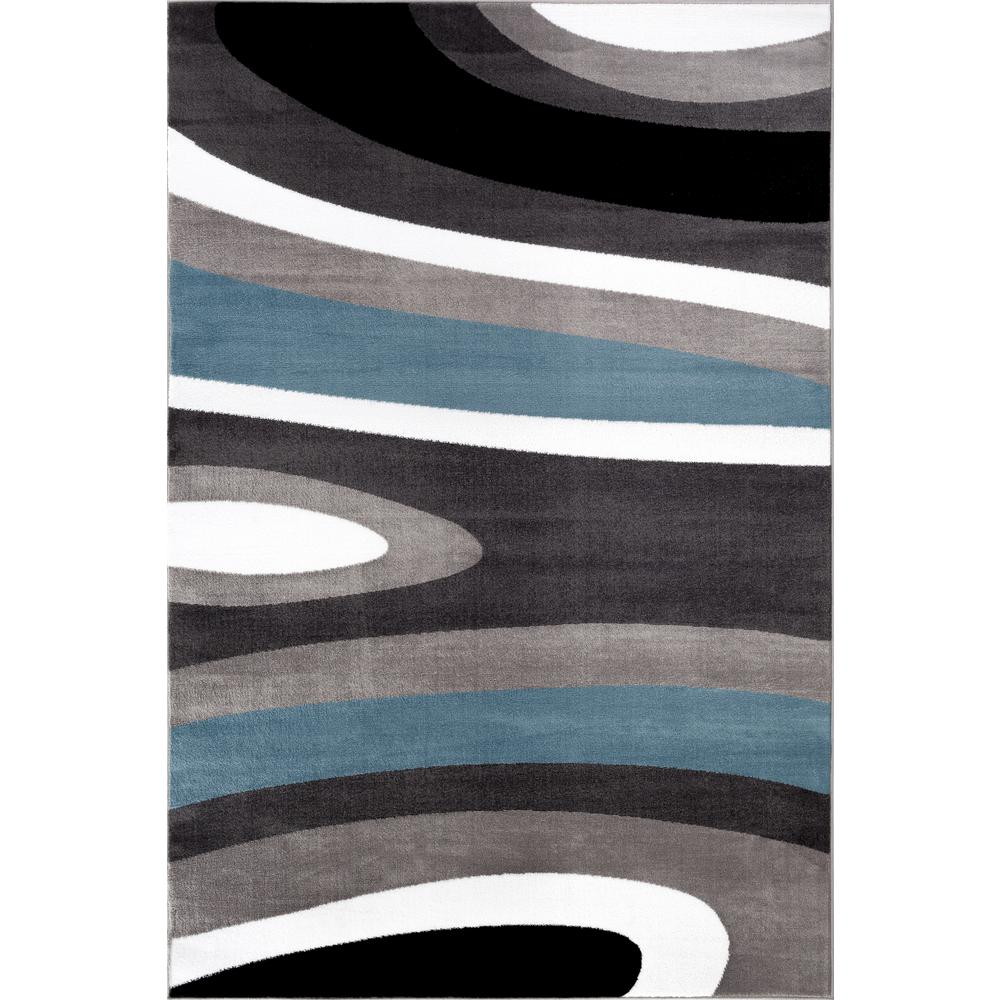 World Rug Gallery Contemporary Abstract Blue 2 Ft X 3 Indoor Area