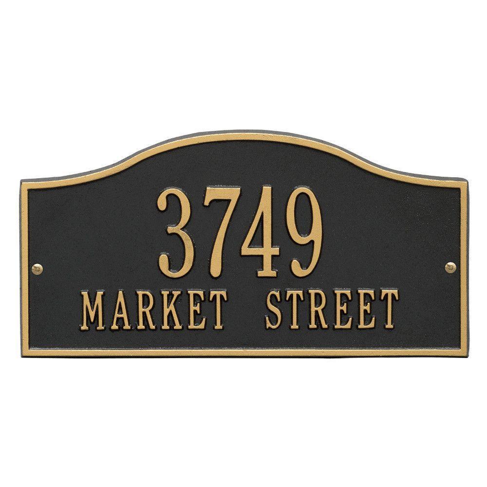 Rolling Hills Rectangular Black/Gold Standard Wall 2-Line Address Plaque