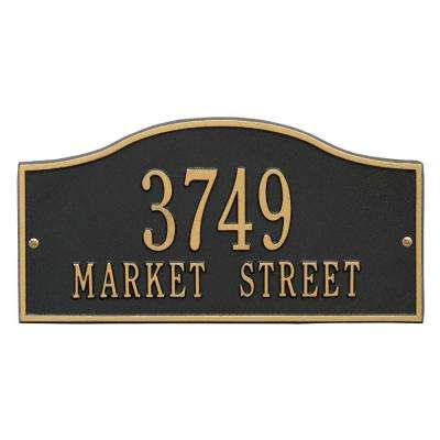 Rolling Hills Rectangular Black/Gold Standard Wall 2-Line Address Plaque