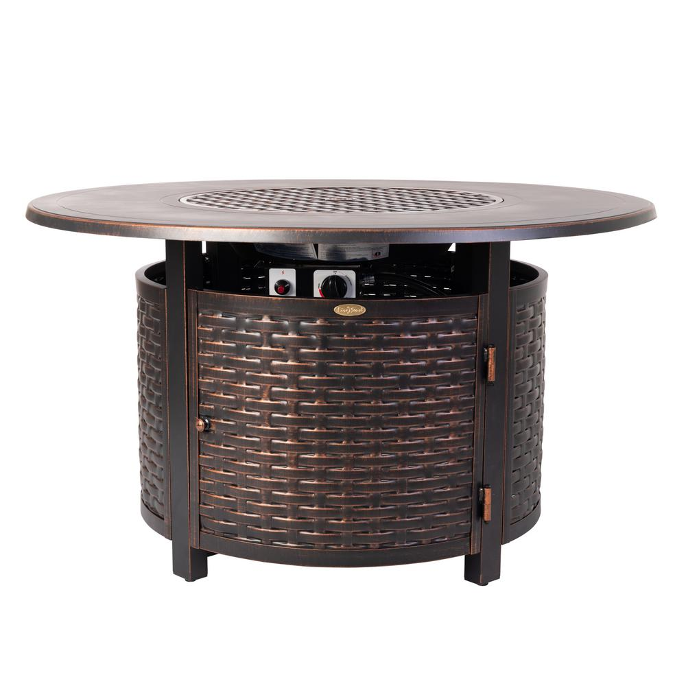 Fire Sense Florence 44 in. x 24 in. Round Aluminum Propane Fire Pit Table in Antique Bronze with Vinyl Cover
