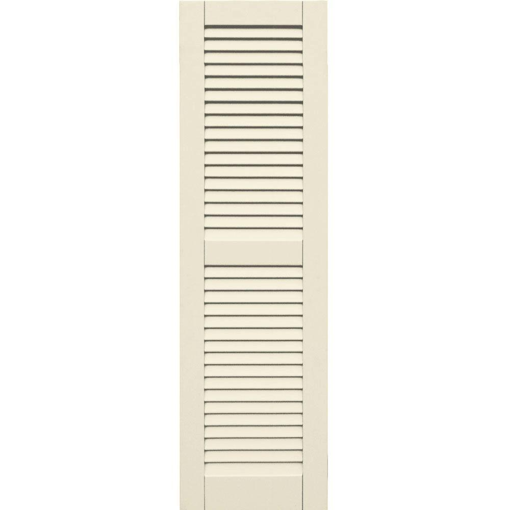 Winworks Wood Composite 15 in. x 52 in. Louvered Shutters Pair #651 Primed/Paintable