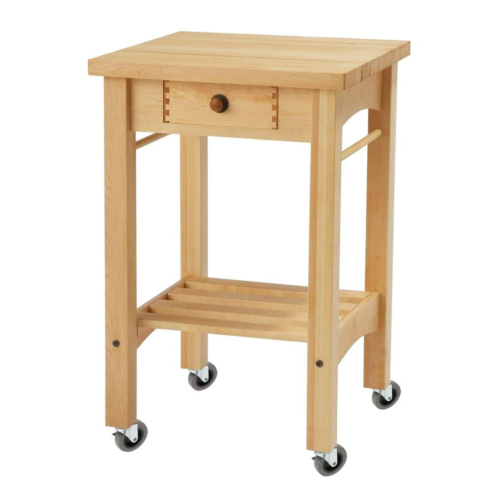 Perfect Snow River Maple Kitchen Cart With Shelf