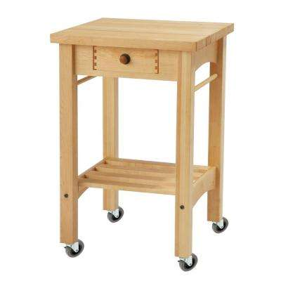 Maple Kitchen Cart With Shelf