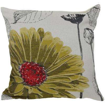 18 in. x 18 in. Yellow Flower Embroidery Collection with Feather Filled Pillow