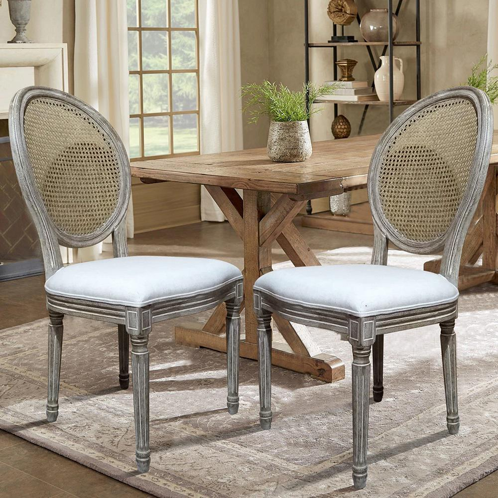 Lux Home Louis Beige Cane Dining Chair (Set Of 2)