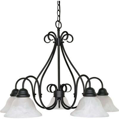Adria 5-Light Textured Flat Black Chandelier with Alabaster Swirl Glass