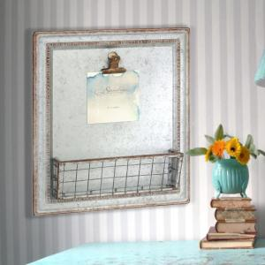 13 in. x 15 in. Silver Galvanized Metal Wall Decor with Clip and Basket