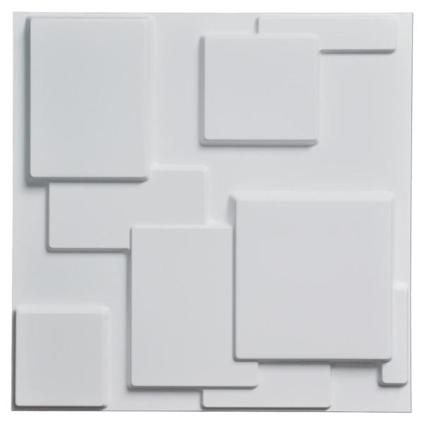 19.7 in. x 19.7 in. White PVC 3D Wall Panels Brick Wall Design (12-Pack)