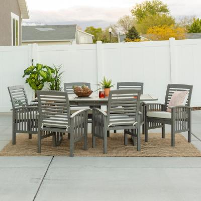 Grey Wash 7-Piece Classic Wood Outdoor Patio Dining Set with Cream Cushions