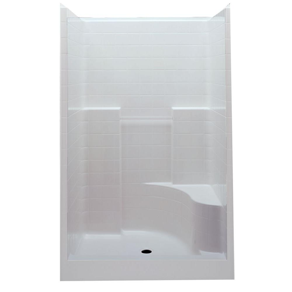 Aquatic Everyday 60 in. x 35 in. x 76 in. Center Drain Right Seat 1-Piece Shower Stall in White