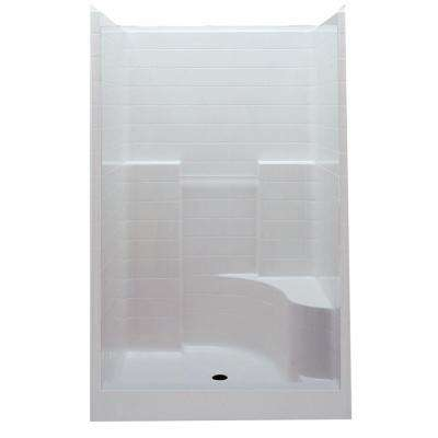 Everyday 60 in. x 35 in. x 76 in. Center Drain Right Seat 1-Piece Shower Stall in White