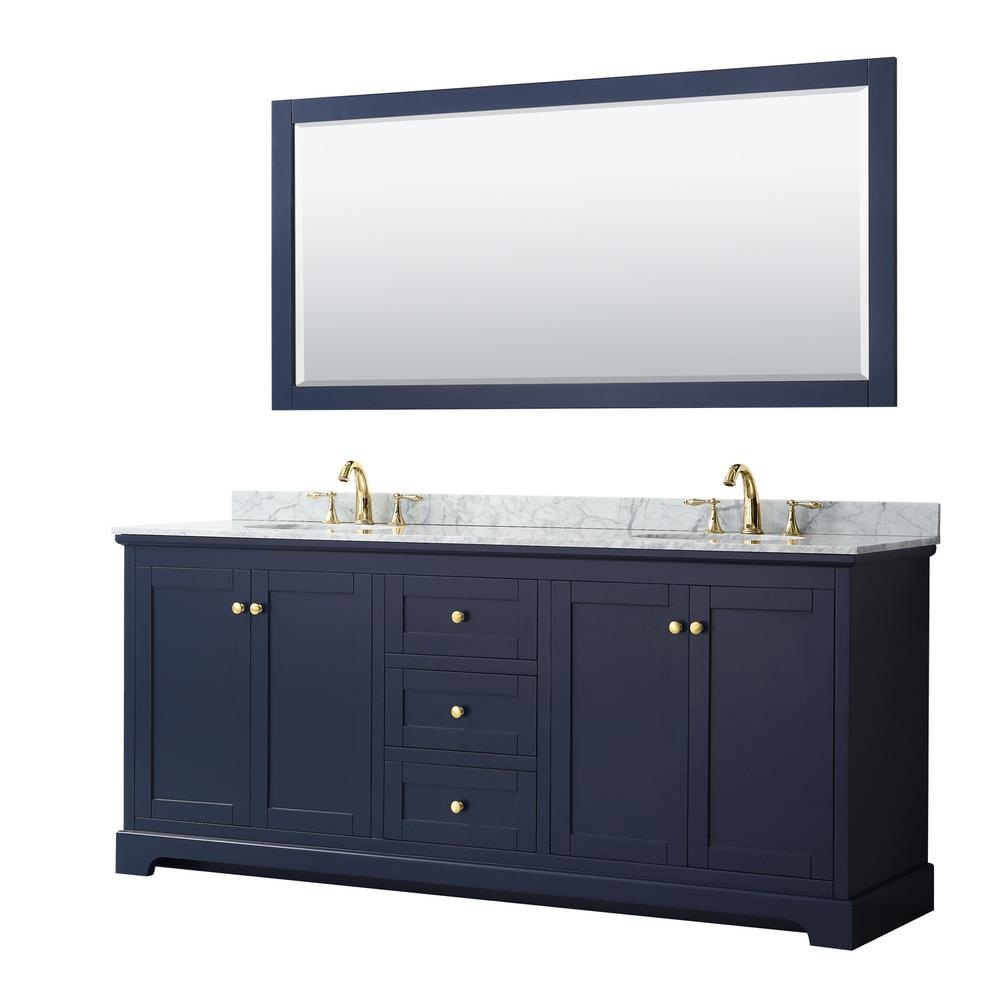 Wyndham Collection Avery 80 in. W x 22 in. D Bath Vanity in Dark Blue with Marble Vanity Top in White Carrara with White Basins and Mirror