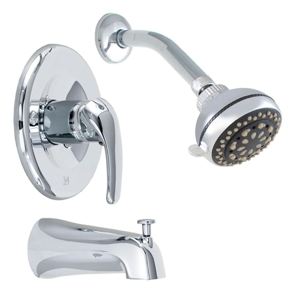 Exquisite 1-Handle Tub and 1-Spray Shower Faucet in Chrome (Valve Included)
