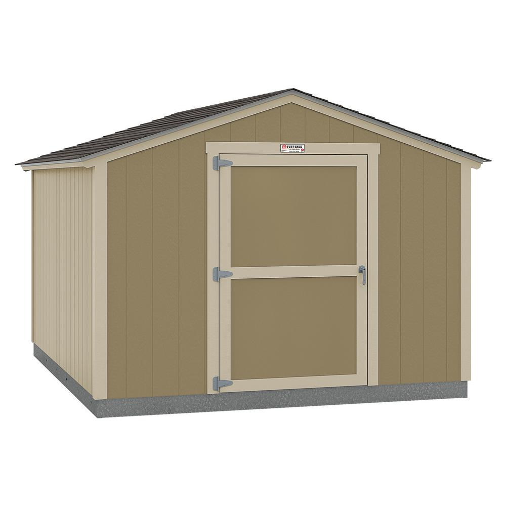 Tuff Shed Installed The Tahoe Series Standard Ranch 10 ft. x 12 ft. x 8 ft. 2 in. Un-Painted Wood Storage Building Shed, Beige / Cream -  10x12 SR E1 NP