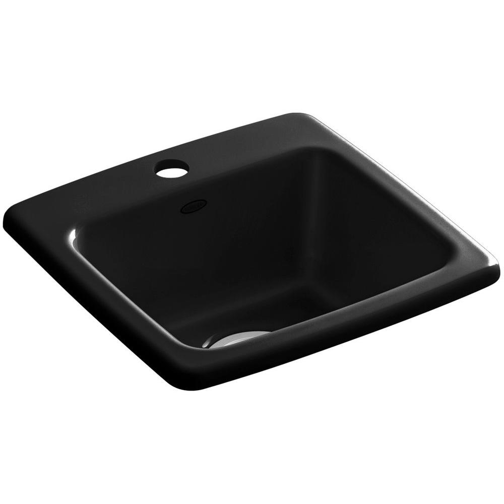 KOHLER Gimlet Drop In Acrylic 15 In. 1 Hole Single Bowl Bar Sink In Black  Black K 6015 1 7   The Home Depot