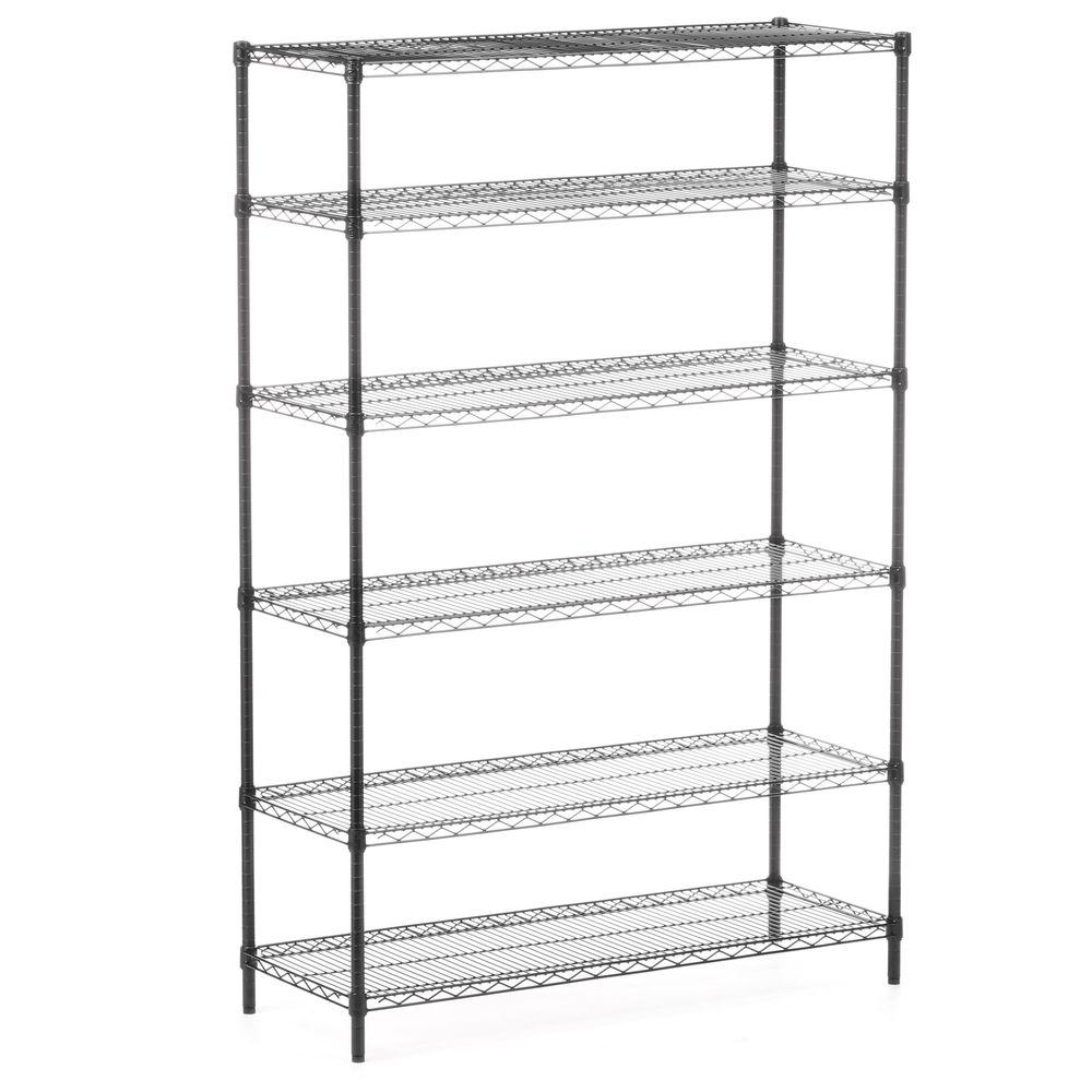 Honey-Can-Do 72 in. H x 48 in. W x 18 in. D 6-Shelves Steel Shelving Unit in Black Create visible, accessible storage space instantly with Honey-Can-Do 6-Shelf Steel Commercial Shelving Unit. A black powder-coated finish and 72 in. steel frame make the unit a perfect blend of style and functionality. Durable enough for the mudroom, garage or commercial kitchen, the shelving is capable of withstanding an impressive 600 lbs. per shelf of evenly distributed weight and is NSF-rated for food equipment spaces including refrigerators, freezers and ware washing areas. Adjustable shelves and stackable components allow you to change the configuration as your storage needs evolve, and you can also combine multiple units (each sold separately) to create a customized storage wall.