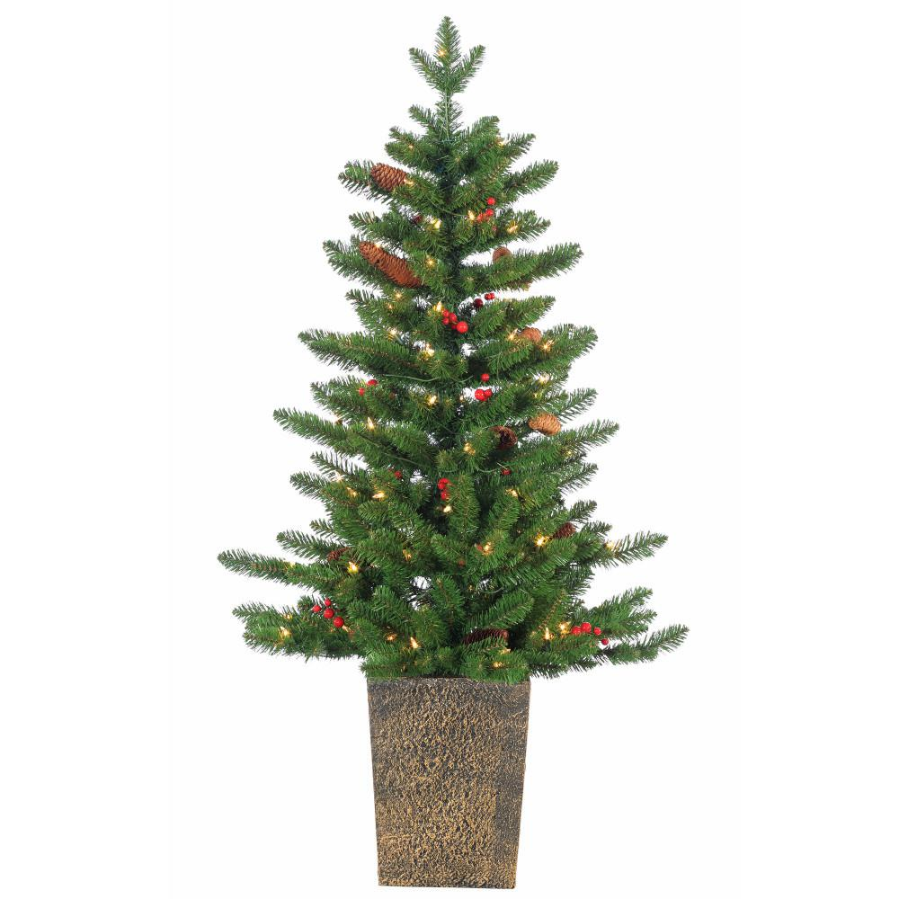 4ft Pre Lit Christmas Tree Part - 45: Sterling 4 Ft. Pre-Lit Potted Madison Spruce Artificial Christmas Tree With  Winter Accents-5211--40C - The Home Depot