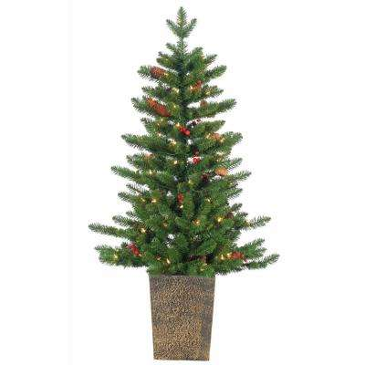4 ft. Pre-Lit Potted Madison Spruce Artificial Christmas Tree with Winter Accents