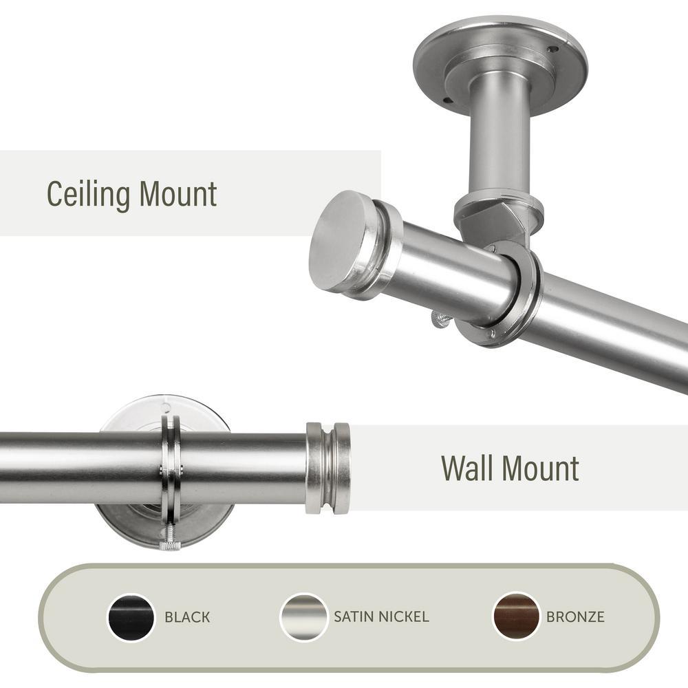 Bun Ceiling 66 in. - 120 in., 1 in. Dia Single Curtain Rod/ Room Divider in Satin Nickel