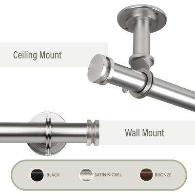 Bun Ceiling 120 in. - 170 in., 1 in. Dia Curtain Rod/ Room Divider in Satin Nickel