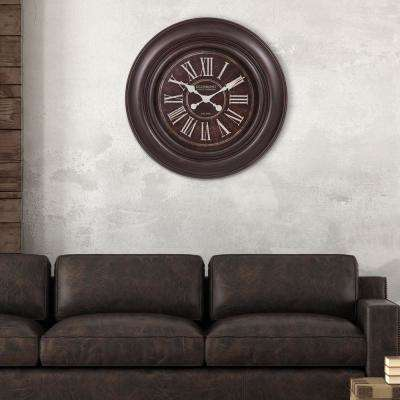 Glenmont Wide Roman Numeral Distressed Black Wall Clock